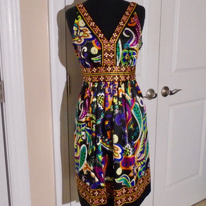 ECI Floral V-Neck Sash Party Dress 4 STUNNING!